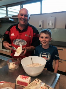 Mark Nicholls (CityDepot) and son making the apple crumble
