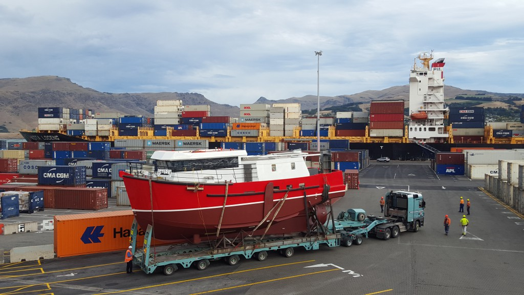 Newly built fishing vessel being transported through Lyttelton Container Terminal - May 2016