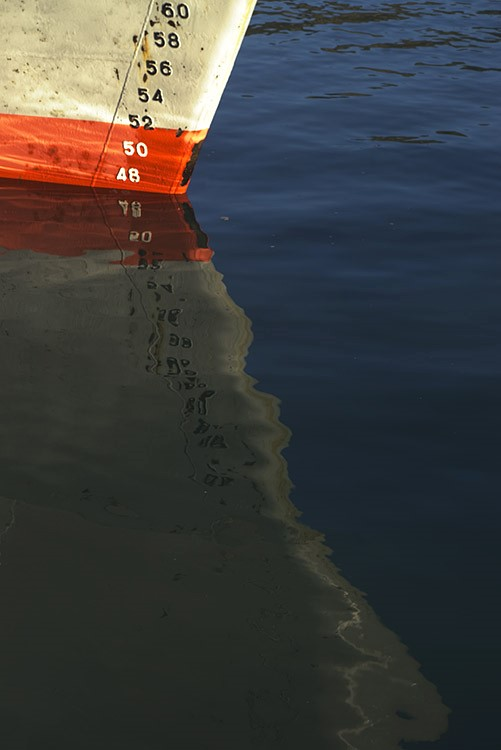 Ship's reflection in the water