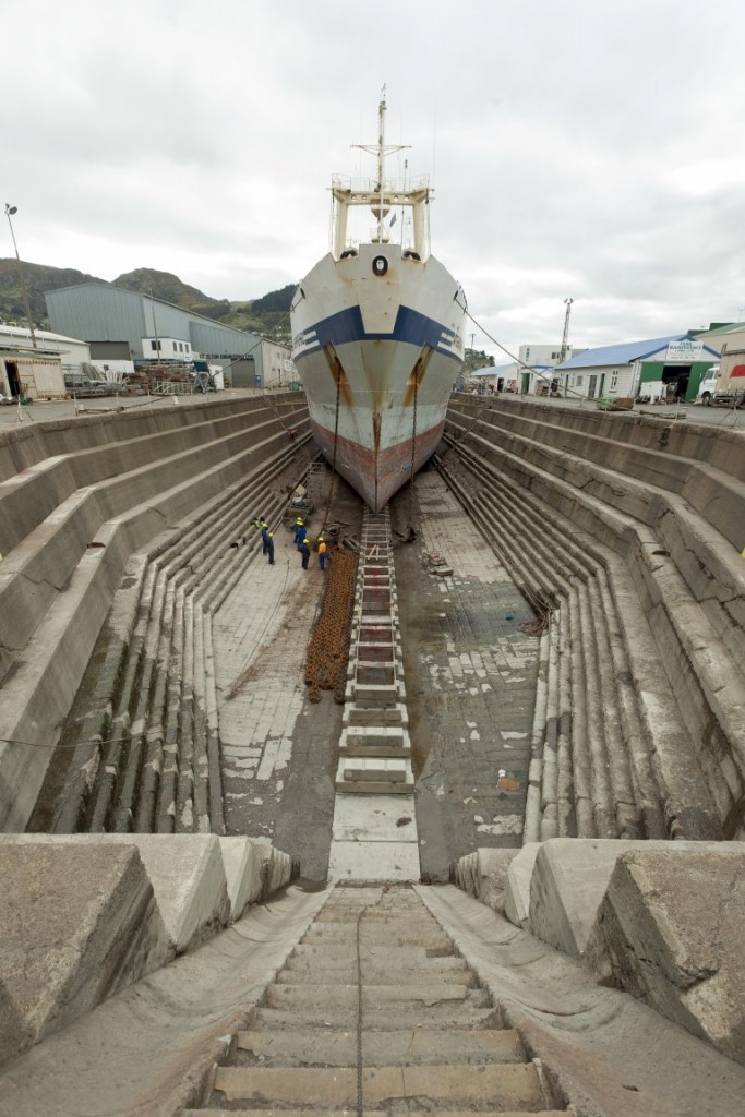 Bow of ship in Dry Dock