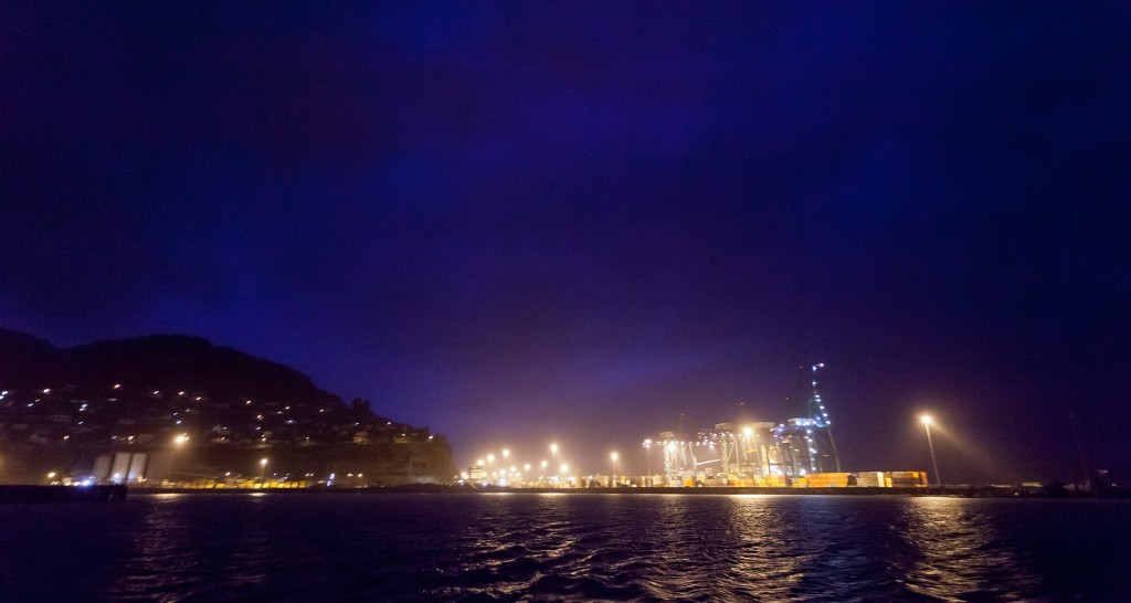 Lyttelton Port looking east from Naval Point, at night time