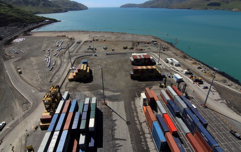Empty Container Yard Lyttelton Port Of Christchurch