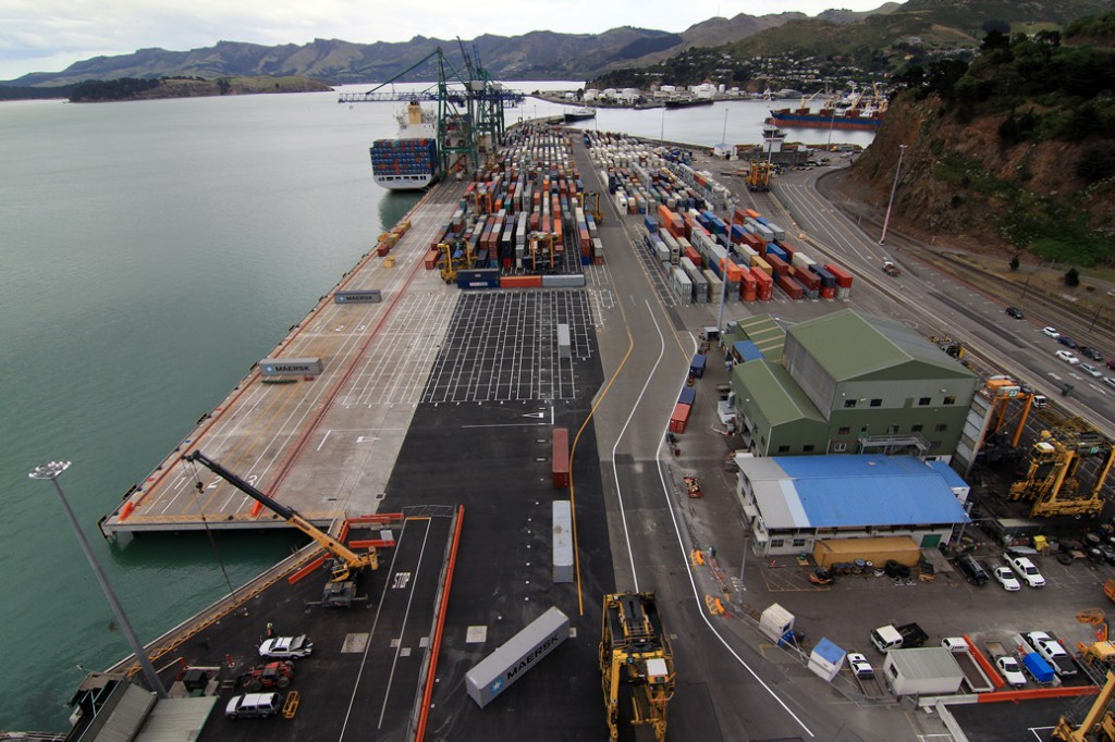 Lyttelton Container Terminal, looking west