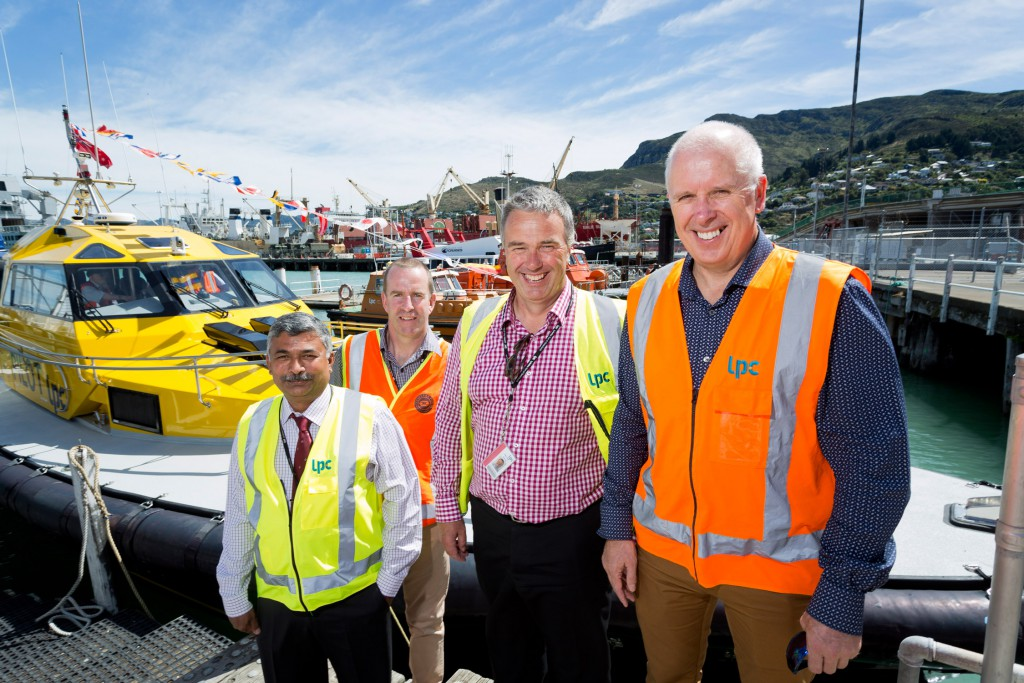 From left, George Philips (LPC Marine Manager), Alec McWhinnie (LPC Civil Structural Engineer), Peter Davie (LPC Chief Executive) and Paul Monk (LPC Operations Manager) - at the naming ceremony for LPC's new Pilot Launch Awaroa  - Feb 2016
